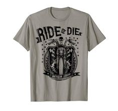 American Legend, Ride Or Die, Branded T Shirts, Fashion Brands, Bike, Amazon, Mens Tops, Skull, Graphics