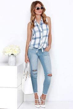 Valley Beckons Ivory and Blue Plaid Button-Up Top at Lulus.com!