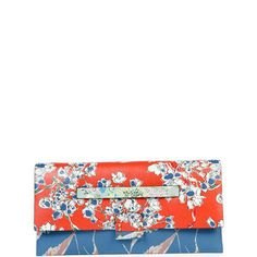 Valentino Mime Floral-Print Leather Clutch Bag, Multi