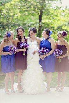 Blue and Purple bridesmaid dresses