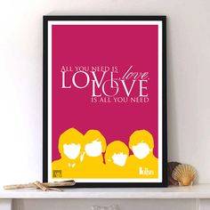 The Beatles print poster love quotes