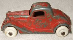 1930's Red Roadster Diecast Car Marked MADE in UNITED STATES OF AMERICA