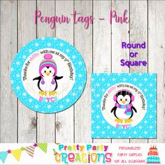 This listing is for favor circles in the PENGUIN theme. This is a digital file that you print yourself and will be sent to you in PDF format. You will receive a printable file of your choice of or 2 inch circles or squares. Party Favor Tags, Party Favors, Penguin Party, Handmade Items, Handmade Gifts, Perfect Party, All Design, Penguins, Party Supplies