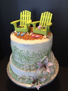 Beach Theme Wedding Shower Cake.  Cake Art Design's by Marie