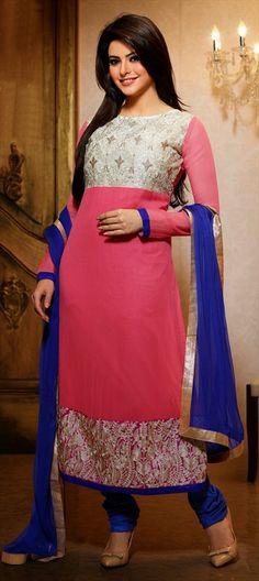 405553: Pink and Majenta color family unstitched Bollywood Salwar Kameez.
