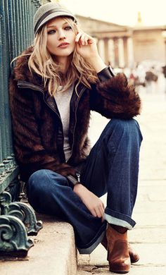 great hat with faux fur coat