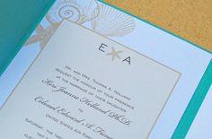Sea shell corner pocket fold wedding invitation via Etsy