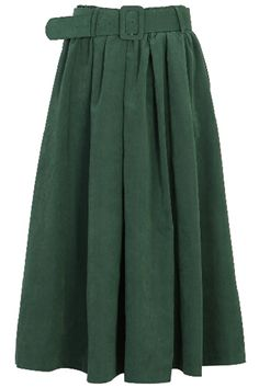 Pleated Belted Dark Green #Skirt #midiskirt #fashion $39