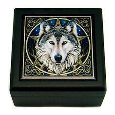 Box - Lisa Parker Celtic Wolf Tile Art Box (5 Inch )   The Magickal Cat Online Pagan/Wiccan Shop