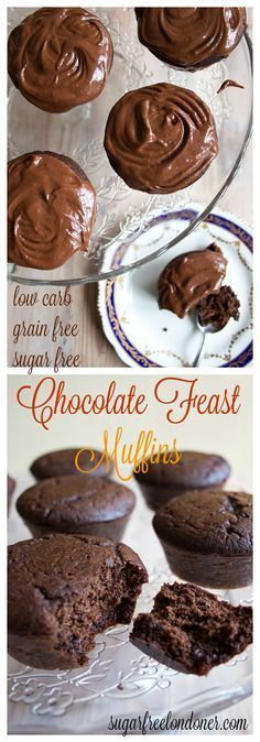 Low Carb Meals Pure indulgence: These keto chocolate feast muffins are sugar free, grain free and low carb. - Pure indulgence: These sugar free chocolate muffins are sugar free, grain free and low carb. Diabetic Desserts, Sugar Free Desserts, Sugar Free Recipes, Dessert Recipes, Cheesecake Recipes, Diabetic Recipes, Low Carb Sweets, Low Carb Desserts, Low Carb Recipes