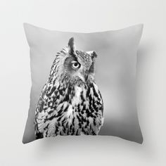 Eagle Owl Throw Pillow by Don Hooper - $20.00