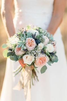 Rustic garden rose + succulent bouquet: http://www.stylemepretty.com/destination-weddings/spain-weddings/2016/05/11/fairytale-romance-custom-gown-epic-bohemian-celebration/   Photography: Anna Gazda - http://limelight.pl/