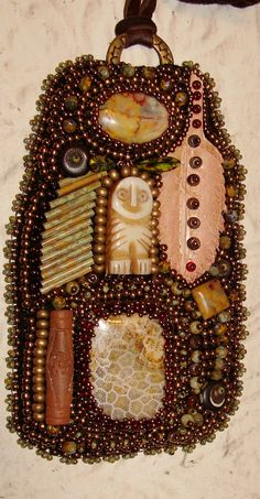Owl Totem bead embroidery medicine bag.