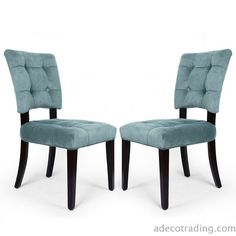 Furnistar Velvet Side / Dining Chair with Solid wood legs Blue Tufted European Style (Set of 2)