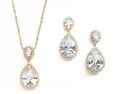 Affordable Elegance Bridal - Gold Plated Couture Pear Shaped CZ Pendant and Earrings Jewelry Set, $87.99 (http://www.affordableelegancebridal.com/gold-plated-couture-pear-shaped-cz-pendant-and-earrings-jewelry-set/)