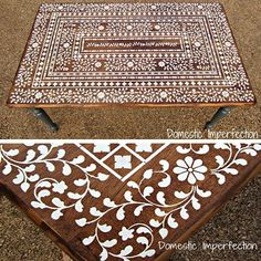 Stenciled Indian Inlay table top from Domestic Imperfections (stencil from Cutting Edge Stencils) #CuttingEdgeStencils #stencils #stenciling #stencilprojects