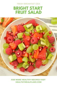This beautiful fruit salad is a yummy combination of raspberries, kiwi, green grapes, pomegranate and strawberries! Serve over yogurt for a delicious Strawberry Breakfast, Beautiful Fruits, Recipe Details, Vegan Desserts, Clean Eating Snacks, Fruit Salad, Dairy Free, Breakfast Recipes, Raspberries
