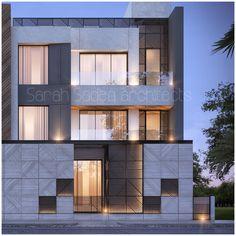 600 private villa sarah Sadeq architects kuwait Bungalow Exterior, Modern Exterior, Exterior Design, Modern Residential Architecture, Facade Architecture, House Cladding, Facade House, Condo Design, Villa Design