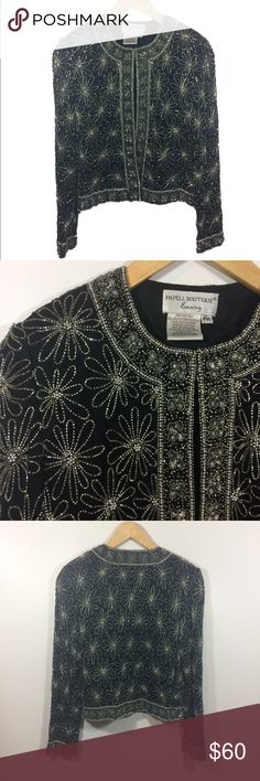 Vintage Adrianna Papell beaded sequin jacket PM Vintage Adrianna Papell black and silver beaded sequin jacket in size Petite medium - excellent vintage condition with no holes, rips, stains, missing beads, or other noticeable wear. Adrianna Papell Jackets & Coats Blazers