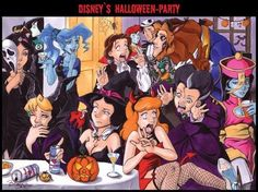 Princesses at a Halloween party