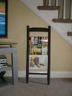 magazine rack I made from an old wooden chair
