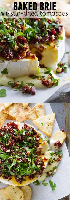 This baked brie recipe is topped with a mixture of sun-dried tomatoes, garlic and parsley (or basil) in this recipe that only takes 12 minutes in the oven 375*