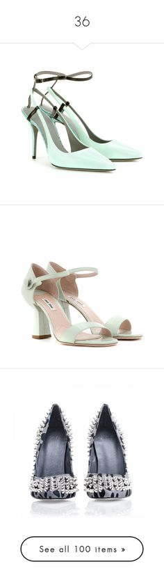 """""""36"""" by ovshinnikova ❤ liked on Polyvore featuring shoes, pumps, heels, alexander wang, peppermint, leather pumps, alexander wang shoes, high heel shoes, aqua shoes and strap pumps"""