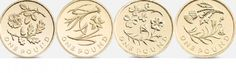 The Floral series of pound coins: left to right, England, Wales, Ireland, Scotland