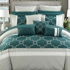 Chic Home Camilia 16 Piece Comforter Set Size: King, Color: Teal Teal Bedding Sets, Bedding And Curtain Sets, Ruffle Bedding, Comforter Sets, Bedroom Comforters, Room In A Bag, Bed In A Bag, Bed Ensemble, Ashley Home