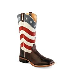 Old West Men's Broad Square Toe Boots - American Flag  Men's broad square toe boots with fancy stitch and hand corded medallion #starsandstripes #cowboy #boots #patriotic #merica #pungoridge #westernbootsales