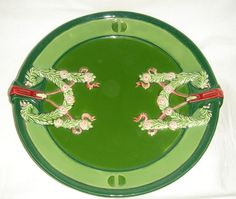 ANTIQUE EICHWALD ART NOUVEAU / SECESSIONIST PLATE TWO TONE GREEN WITH GARLANDS