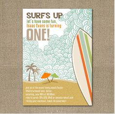 I'm in love with this surfer dude birthday party from our own designer, Sarah!  She did an amazing job for her little kahuna's 1st birthday!...