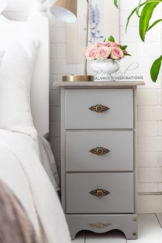 DIY Painted Nightstands from Repurposed Desk - Salvaged Inspirations