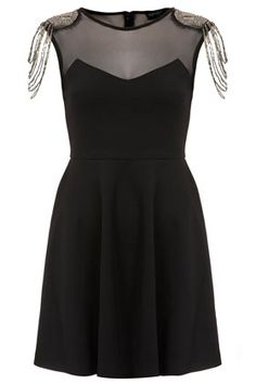 Topshop Fringe Embellished Skater Dress available - Xmas party Grad Dresses, Evening Dresses, Short Dresses, Fashion Books, Fashion Outfits, Women's Fashion, New Years Outfit, Sartorialist, Womens Cocktail Dresses