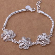 SL-AH200 Wholesale silver plating bracelet, 925 stamped silver fashion jewelry Three stripes flower /bjgakana aifaizma #Affiliate