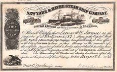 New York & Havre Steam Ship Company 39 shares à 100 $ 6.8.1866.