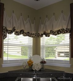 Canvas Drop Cloth Valances hung with cup hooks