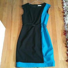 Calvin Klein sheath dress size 4 Blue/turquoise and black color blocked sheath dress with belt. Size 4. Calvin Klein Dresses