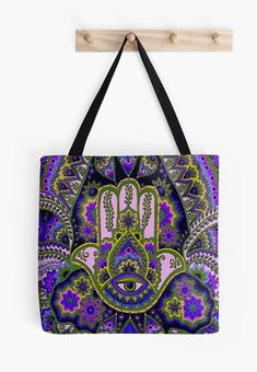Hamsa/Hand green/purple Tote bag/ yoga bag Tattoo wolf Yoga Bag, Hamsa Hand, Green And Purple, Tattoo Wolf, Gucci, Shoulder Bag, Bags, Pom Poms, Poplin