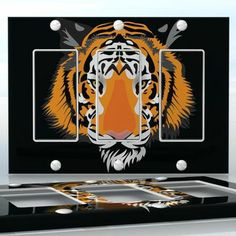 DIY Do It Yourself Home Decor - Easy to apply wall plate wraps | Out of the Dark Half tiger face wallplate skin sticker for 3 Gang Decora LightSwitch | On SALE now only $5.95