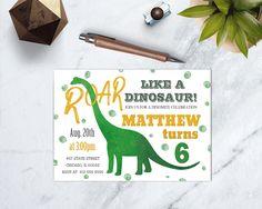 Dinosaur Birthday Invitation, Dinosaur Dig Theme, Roar Like a Dinosaur, T-Rex, Orange and Green, DIGITAL FILE by TDApartyonpaper on Etsy