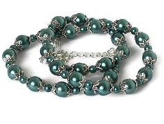 Teal Pearl & Silver Necklace Wedding Bridal by sweetdreamzdesigns, $11.50