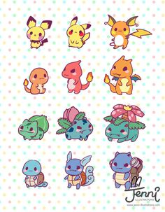 illustrations ❤ — Kawaii starter Pokemon evolution (♡˙︶˙♡)… Cute Disney Drawings, Cute Kawaii Drawings, Kawaii Doodles, Cute Doodles, Cute Animal Drawings, Pokemon Eeveelutions, O Pokemon, Cute Pokemon Wallpaper, Cute Cartoon Wallpapers