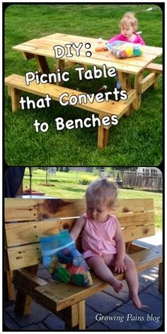 DIY Child's Picnic Table that Converts to Benches. Great birthday gift idea for the do-it-yourself person. #forchildren #gift #diy