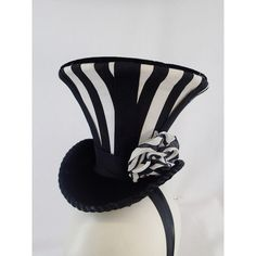 Ring Leader Big Top Tiny Top Hat Flare Black and White Vertical... ($67) ❤ liked on Polyvore featuring accessories, hats, fascinator hat, adjustable hats, tall top hat, gothic hats and brimmed hat