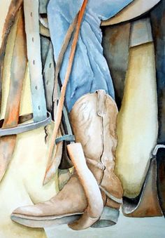 Cowboy Boot Painting by Dorothy Nalls