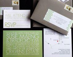 lots of things I love: white, simple yet bold font, chevron, typography over graphics -- Susie + Bradford's Modern Chevron Stripe Wedding Invitations