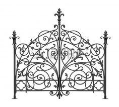 Wrought iron designs Iron Fence Wrought Iron Headboard Wisegeek What Are The Different Styles Of Wrought Iron Design Headboards Wrought Iron Headboard, Fence Headboard, Wrought Iron Garden Gates, Iron Furniture, Iron Art, Gate Design, Metal Fences, Fencing, Grades