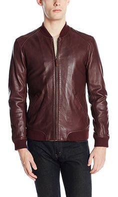 Ted Baker Men's Ovid Leather Bomber Jacket, Oxblood, 7/XXX-Large Best Price