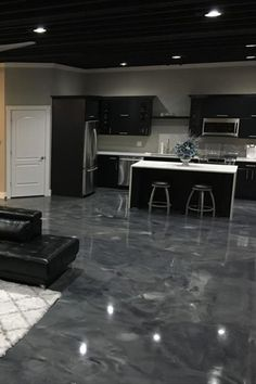 Epoxy Floor Coating engineered for residential application that is durable, aesthetically unique and completely custom. Epoxy Floor Diy, Epoxy Floor Designs, Epoxy Floor Basement, Metallic Epoxy Floor, Diy Flooring, Kitchen Flooring, Dream Home Design, House Design, House Essentials